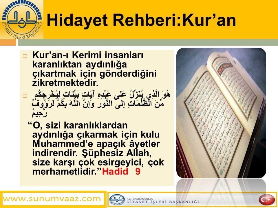 Hidayet Rehberi:Kur'an  Kur'an-ı Kerimi insanları karanlıktan aydınlığa çıkartmak için gönderdiğini zikretmektedir.  هُوَ الَّذِي يُنَزِّلُ عَلَى عَ