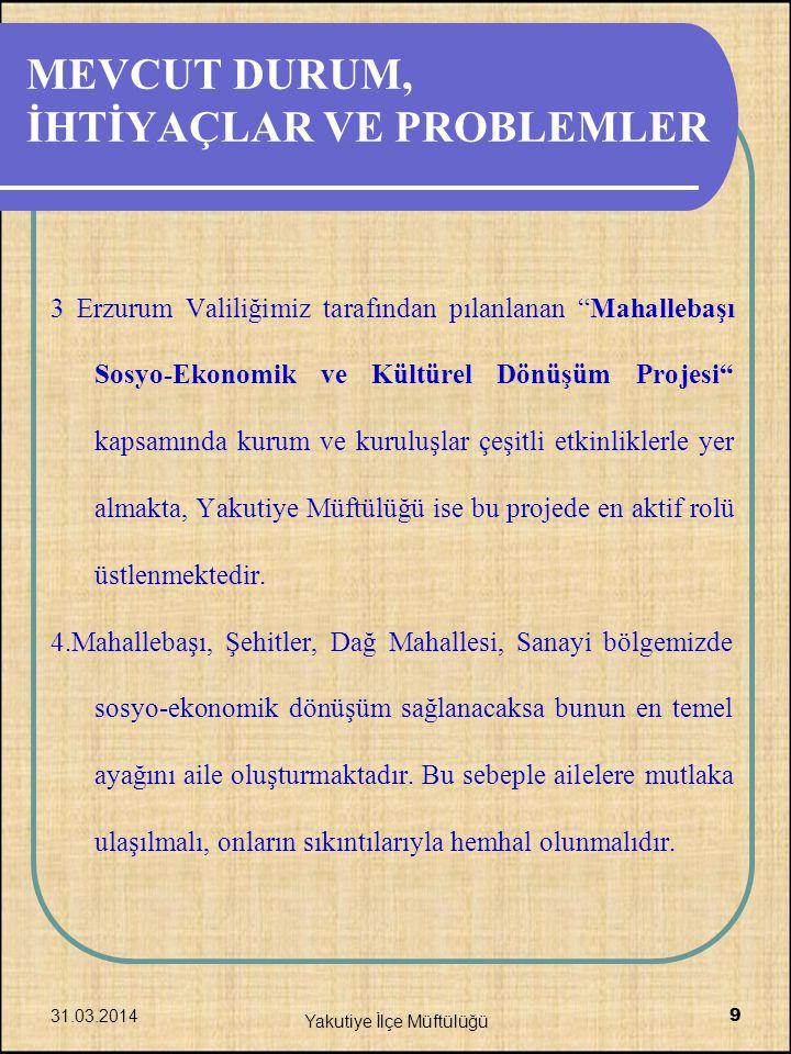 """MEVCUT DURUM, İHTİYAÇLAR VE PROBLEMLER 3 Erzurum Valiliğimiz tarafından pılanlanan """"Mahallebaşı Sosyo-Ekonomik ve Kültürel Dönüşüm Projesi"""" kapsamında"""