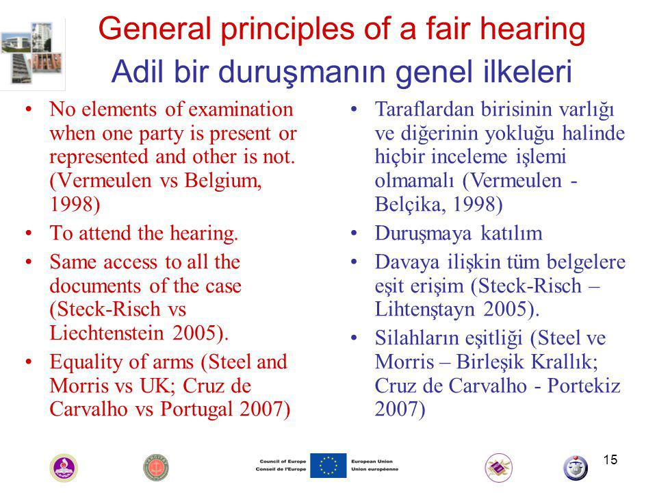 15 General principles of a fair hearing Adil bir duruşmanın genel ilkeleri No elements of examination when one party is present or represented and other is not.