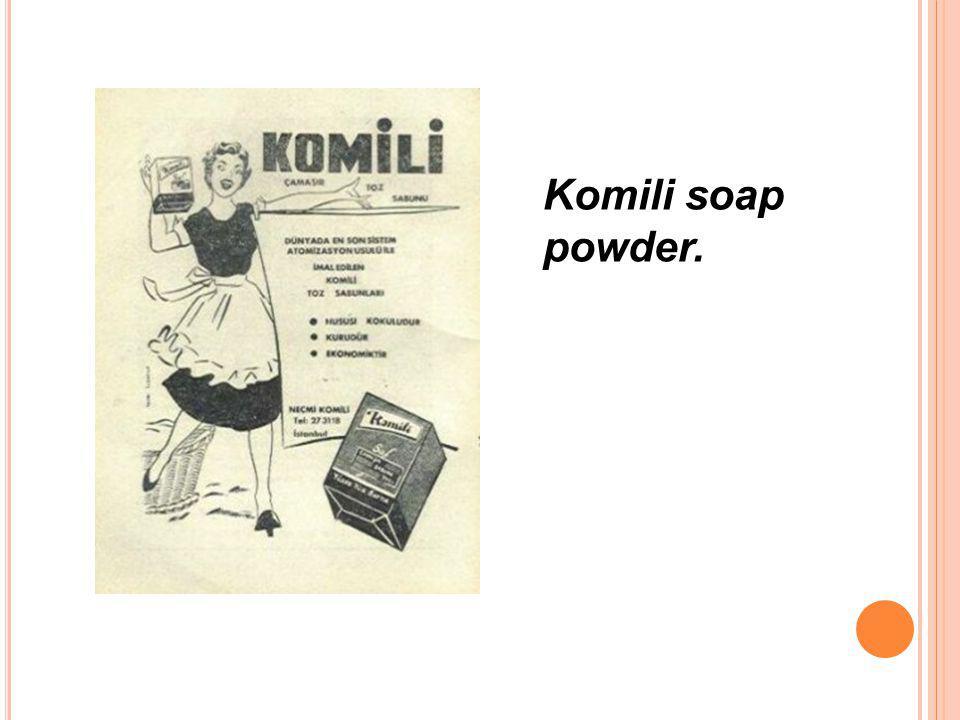 Komili soap powder.