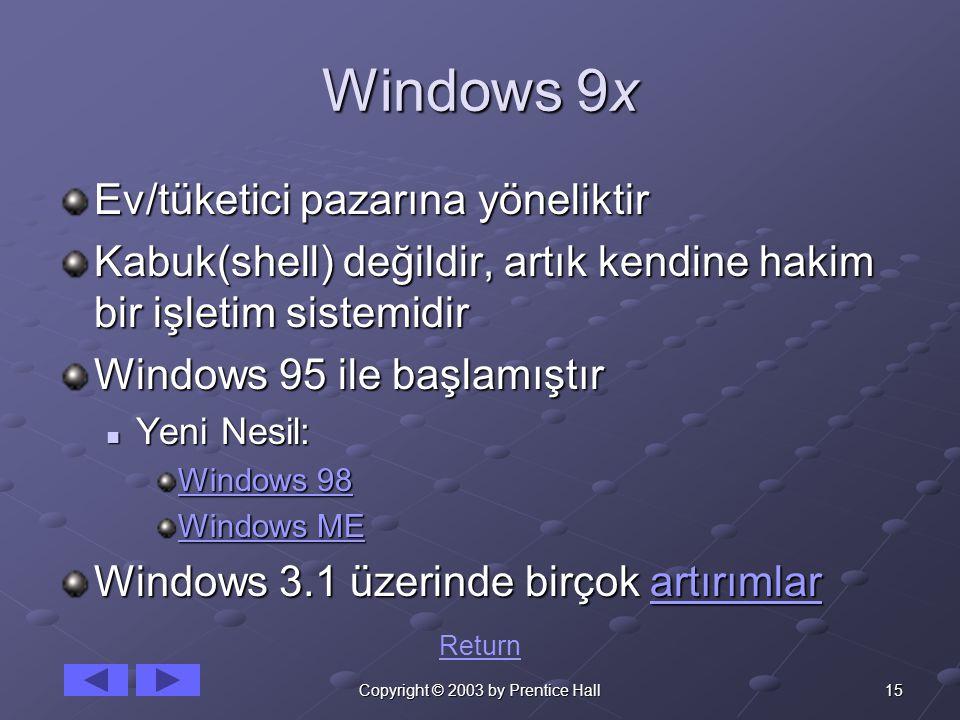 15Copyright © 2003 by Prentice Hall Windows 9x Ev/tüketici pazarına yöneliktir Kabuk(shell) değildir, artık kendine hakim bir işletim sistemidir Windows 95 ile başlamıştır Yeni Nesil: Yeni Nesil: Windows 98 Windows 98 Windows ME Windows ME Windows 3.1 üzerinde birçok artırımlar artırımlar Return