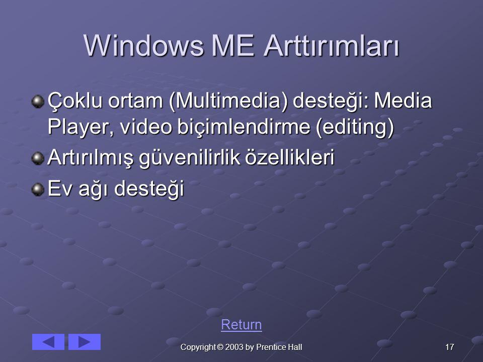 17Copyright © 2003 by Prentice Hall Windows ME Arttırımları Çoklu ortam (Multimedia) desteği: Media Player, video biçimlendirme (editing) Artırılmış güvenilirlik özellikleri Ev ağı desteği Return