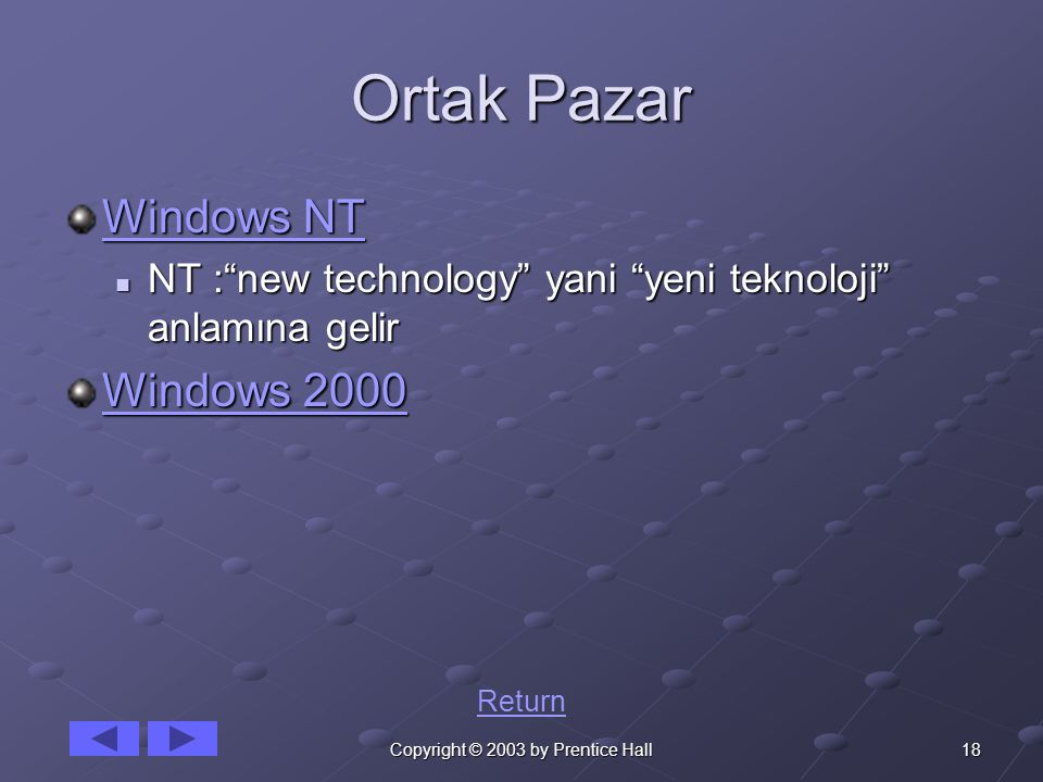 18Copyright © 2003 by Prentice Hall Ortak Pazar Windows NT Windows NT NT : new technology yani yeni teknoloji anlamına gelir NT : new technology yani yeni teknoloji anlamına gelir Windows 2000 Windows 2000 Return