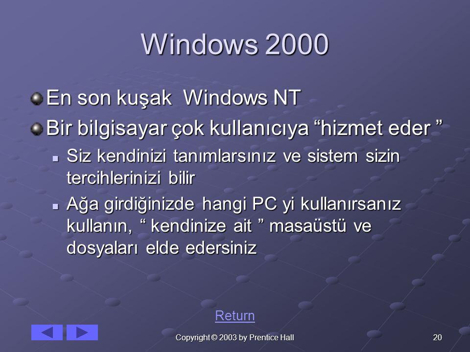 20Copyright © 2003 by Prentice Hall Windows 2000 En son kuşak Windows NT Bir bilgisayar çok kullanıcıya hizmet eder Siz kendinizi tanımlarsınız ve sistem sizin tercihlerinizi bilir Siz kendinizi tanımlarsınız ve sistem sizin tercihlerinizi bilir Ağa girdiğinizde hangi PC yi kullanırsanız kullanın, kendinize ait masaüstü ve dosyaları elde edersiniz Ağa girdiğinizde hangi PC yi kullanırsanız kullanın, kendinize ait masaüstü ve dosyaları elde edersiniz Return