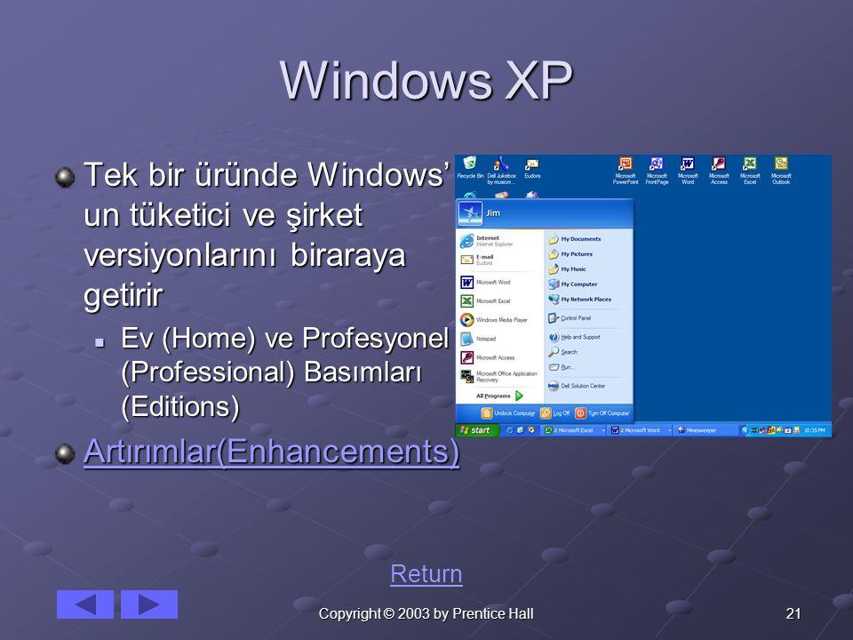 21Copyright © 2003 by Prentice Hall Windows XP Tek bir üründe Windows' un tüketici ve şirket versiyonlarını biraraya getirir Ev (Home) ve Profesyonel
