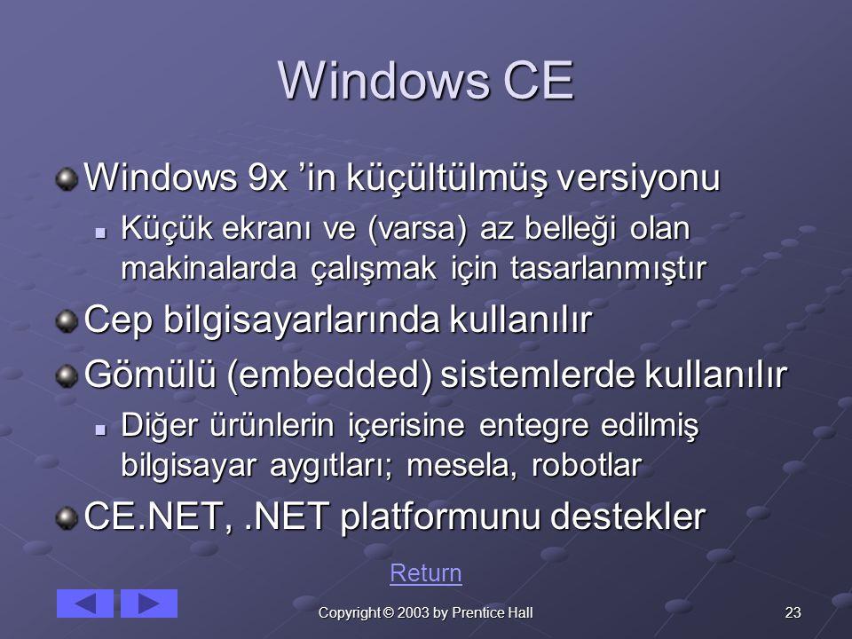 23Copyright © 2003 by Prentice Hall Windows CE Windows 9x 'in küçültülmüş versiyonu Küçük ekranı ve (varsa) az belleği olan makinalarda çalışmak için tasarlanmıştır Küçük ekranı ve (varsa) az belleği olan makinalarda çalışmak için tasarlanmıştır Cep bilgisayarlarında kullanılır Gömülü (embedded) sistemlerde kullanılır Diğer ürünlerin içerisine entegre edilmiş bilgisayar aygıtları; mesela, robotlar Diğer ürünlerin içerisine entegre edilmiş bilgisayar aygıtları; mesela, robotlar CE.NET,.NET platformunu destekler Return