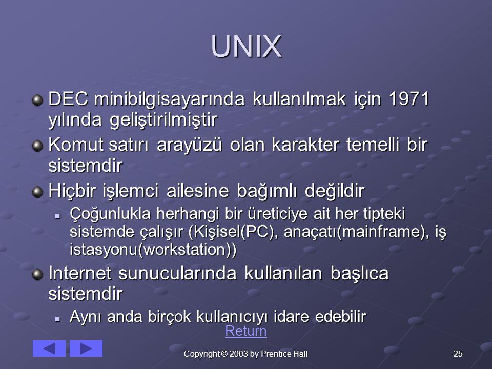 25Copyright © 2003 by Prentice Hall UNIX DEC minibilgisayarında kullanılmak için 1971 yılında geliştirilmiştir Komut satırı arayüzü olan karakter temelli bir sistemdir Hiçbir işlemci ailesine bağımlı değildir Çoğunlukla herhangi bir üreticiye ait her tipteki sistemde çalışır (Kişisel(PC), anaçatı(mainframe), iş istasyonu(workstation)) Çoğunlukla herhangi bir üreticiye ait her tipteki sistemde çalışır (Kişisel(PC), anaçatı(mainframe), iş istasyonu(workstation)) Internet sunucularında kullanılan başlıca sistemdir Aynı anda birçok kullanıcıyı idare edebilir Aynı anda birçok kullanıcıyı idare edebilir Return