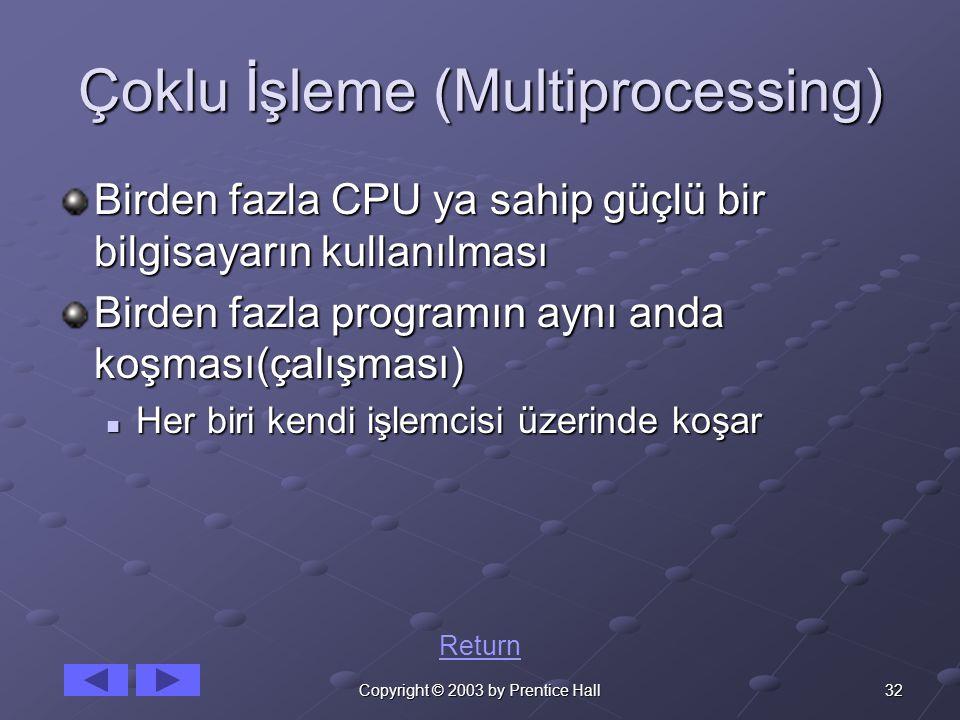 32Copyright © 2003 by Prentice Hall Çoklu İşleme (Multiprocessing) Birden fazla CPU ya sahip güçlü bir bilgisayarın kullanılması Birden fazla programın aynı anda koşması(çalışması) Her biri kendi işlemcisi üzerinde koşar Her biri kendi işlemcisi üzerinde koşar Return
