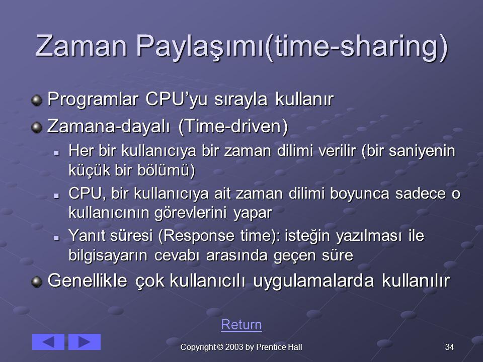 34Copyright © 2003 by Prentice Hall Zaman Paylaşımı(time-sharing) Programlar CPU'yu sırayla kullanır Zamana-dayalı (Time-driven) Her bir kullanıcıya bir zaman dilimi verilir (bir saniyenin küçük bir bölümü) Her bir kullanıcıya bir zaman dilimi verilir (bir saniyenin küçük bir bölümü) CPU, bir kullanıcıya ait zaman dilimi boyunca sadece o kullanıcının görevlerini yapar CPU, bir kullanıcıya ait zaman dilimi boyunca sadece o kullanıcının görevlerini yapar Yanıt süresi (Response time): isteğin yazılması ile bilgisayarın cevabı arasında geçen süre Yanıt süresi (Response time): isteğin yazılması ile bilgisayarın cevabı arasında geçen süre Genellikle çok kullanıcılı uygulamalarda kullanılır Return