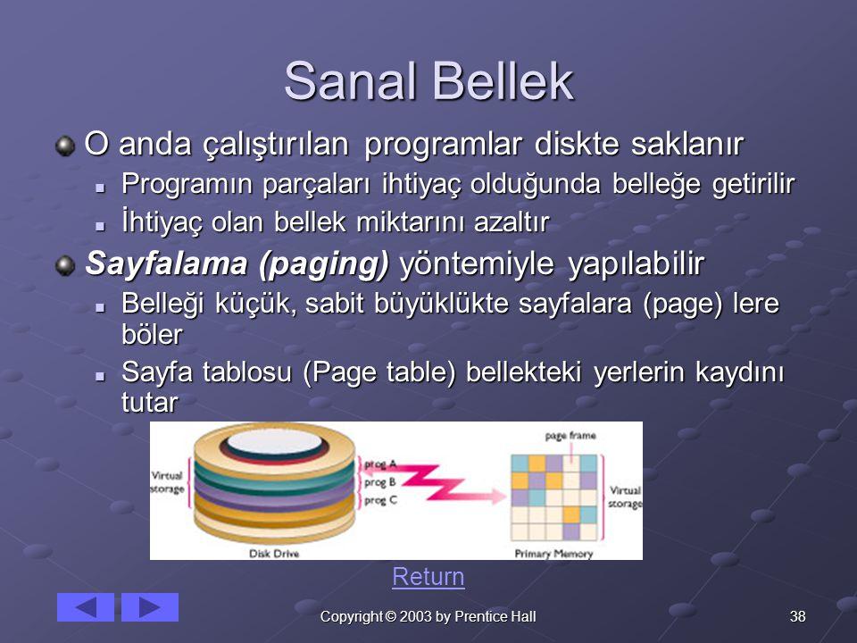 38Copyright © 2003 by Prentice Hall Sanal Bellek O anda çalıştırılan programlar diskte saklanır Programın parçaları ihtiyaç olduğunda belleğe getirilir Programın parçaları ihtiyaç olduğunda belleğe getirilir İhtiyaç olan bellek miktarını azaltır İhtiyaç olan bellek miktarını azaltır Sayfalama (paging) yöntemiyle yapılabilir Belleği küçük, sabit büyüklükte sayfalara (page) lere böler Belleği küçük, sabit büyüklükte sayfalara (page) lere böler Sayfa tablosu (Page table) bellekteki yerlerin kaydını tutar Sayfa tablosu (Page table) bellekteki yerlerin kaydını tutar Return