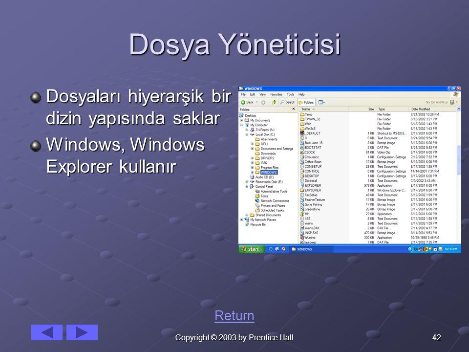 42Copyright © 2003 by Prentice Hall Dosya Yöneticisi Dosyaları hiyerarşik bir dizin yapısında saklar Windows, Windows Explorer kullanır Return