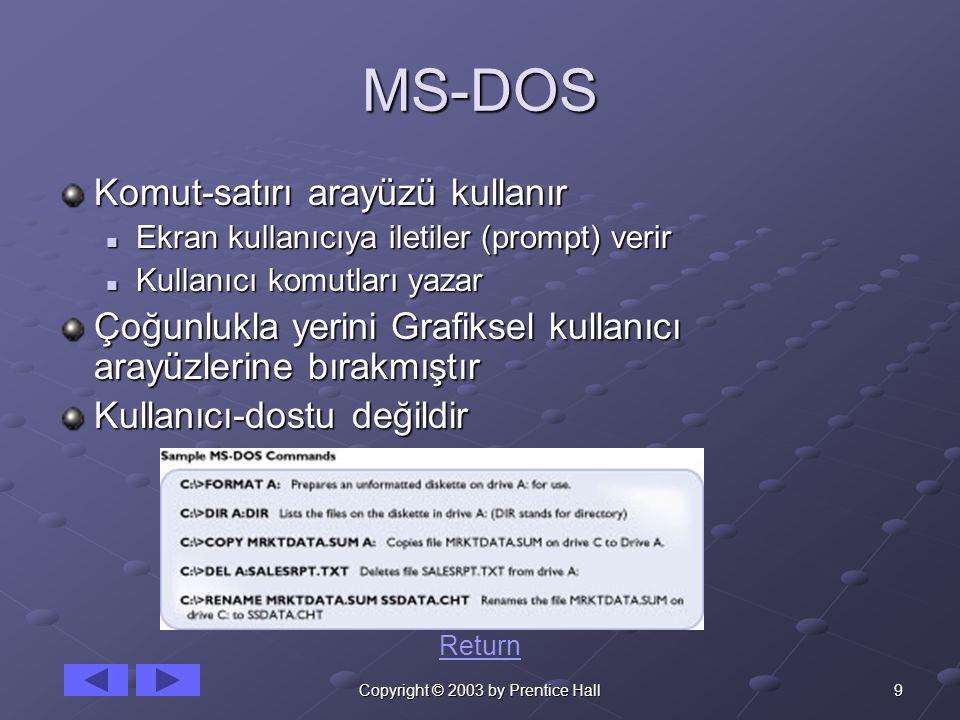 9Copyright © 2003 by Prentice Hall MS-DOS Komut-satırı arayüzü kullanır Ekran kullanıcıya iletiler (prompt) verir Ekran kullanıcıya iletiler (prompt)