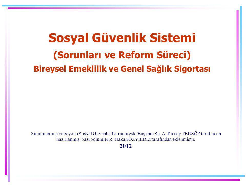 Sosyal Güvenlik Sistemi (Sorunları ve Reform Süreci) Bireysel Emeklilik ve Genel Sağlık Sigortası Sunumun ana versiyonu Sosyal Güvenlik Kurumu eski Ba