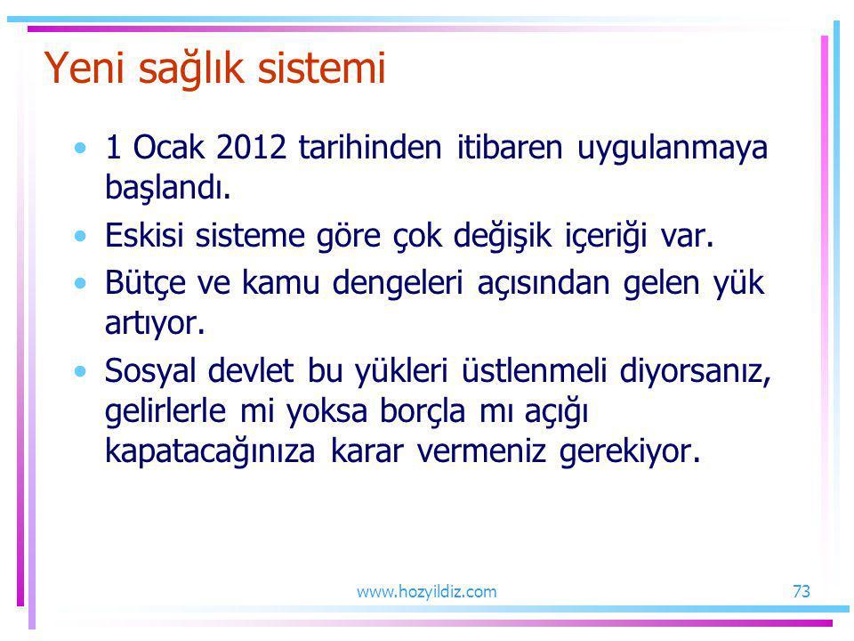 Yeni sağlık sistemi 1 Ocak 2012 tarihinden itibaren uygulanmaya başlandı. Eskisi sisteme göre çok değişik içeriği var. Bütçe ve kamu dengeleri açısınd