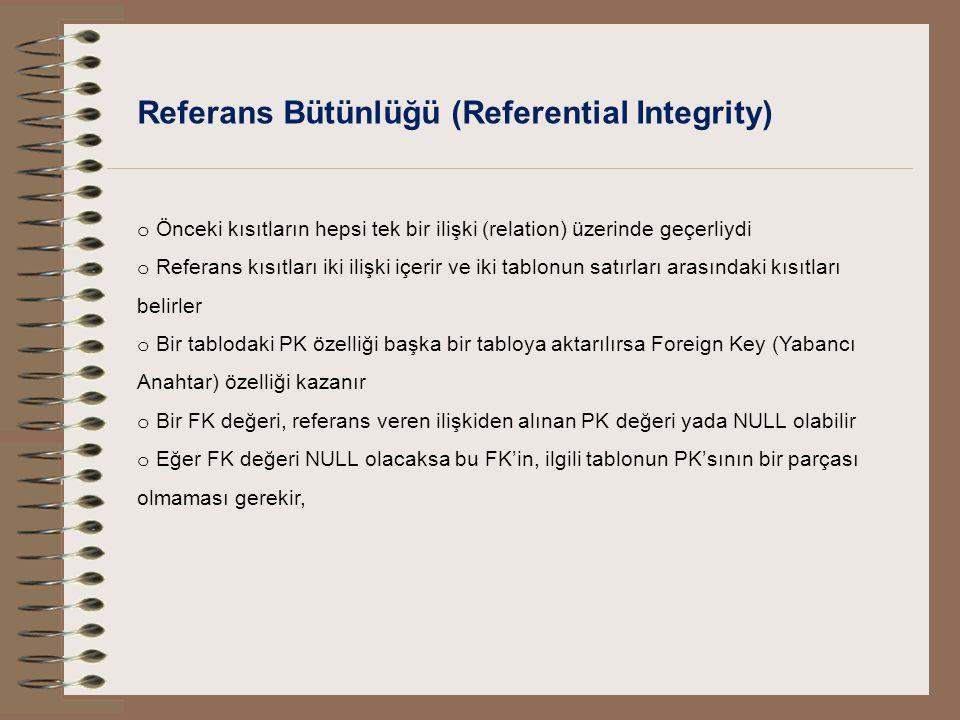Referans Bütünlüğü (Referential Integrity) o Önceki kısıtların hepsi tek bir ilişki (relation) üzerinde geçerliydi o Referans kısıtları iki ilişki içe