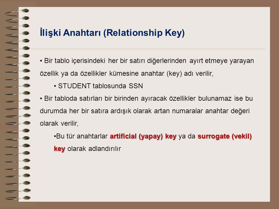 İlişki Anahtarı (Relationship Key) Bir tablo içerisindeki her bir satırı diğerlerinden ayırt etmeye yarayan özellik ya da özellikler kümesine anahtar
