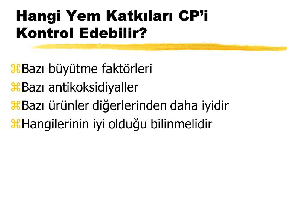 Hangi Yem Katkıları CP'i Kontrol Edebilir? zBazı büyütme faktörleri zBazı antikoksidiyaller zBazı ürünler diğerlerinden daha iyidir zHangilerinin iyi