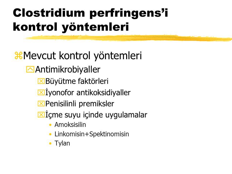 Clostridium perfringens'i kontrol yöntemleri zMevcut kontrol yöntemleri yAntimikrobiyaller xBüyütme faktörleri xİyonofor antikoksidiyaller xPenisilinl