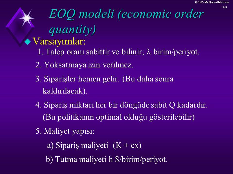 ©2005 McGraw-Hill/Irwin 4-9 EOQ modeli (economic order quantity) u Varsayımlar: 1. Talep oranı sabittir ve bilinir;  birim/periyot. 2. Yoksatmaya izi