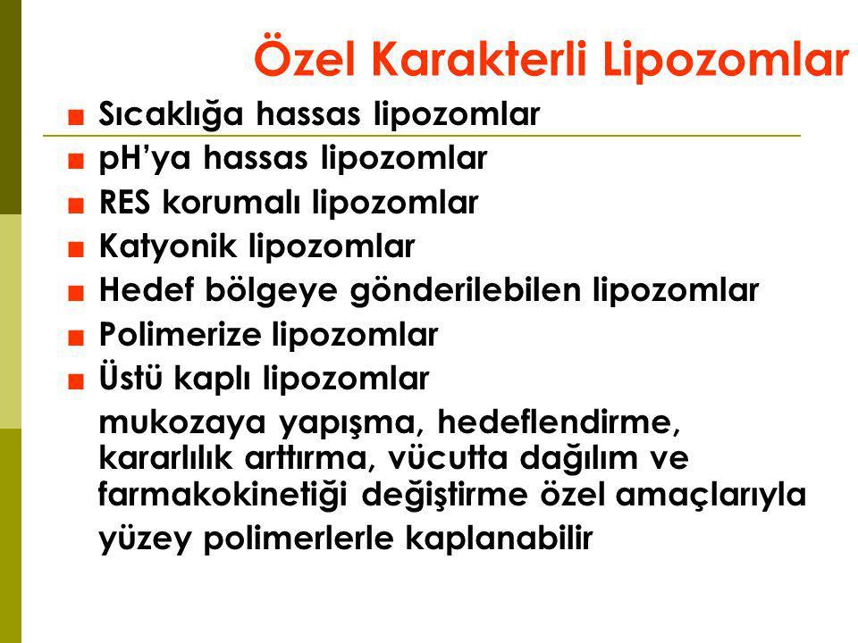 Özel Karakterli Lipozomlar ■Sıcaklığa hassas lipozomlar ■pH'ya hassas lipozomlar ■RES korumalı lipozomlar ■Katyonik lipozomlar ■Hedef bölgeye gönderil