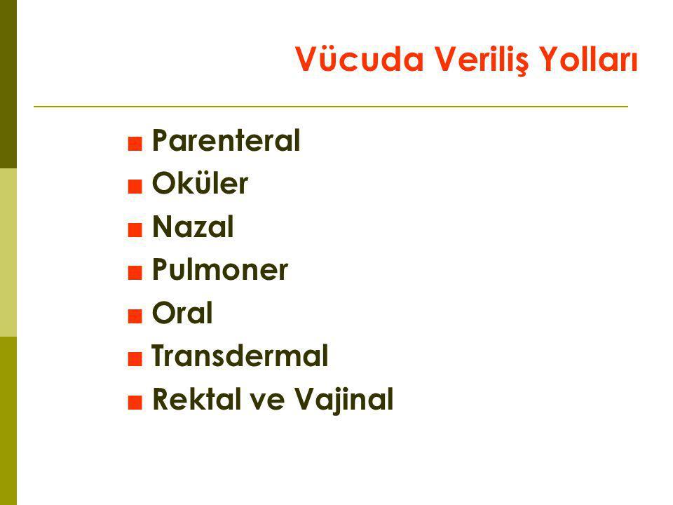 Vücuda Veriliş Yolları ■Parenteral ■Oküler ■Nazal ■Pulmoner ■Oral ■Transdermal ■Rektal ve Vajinal