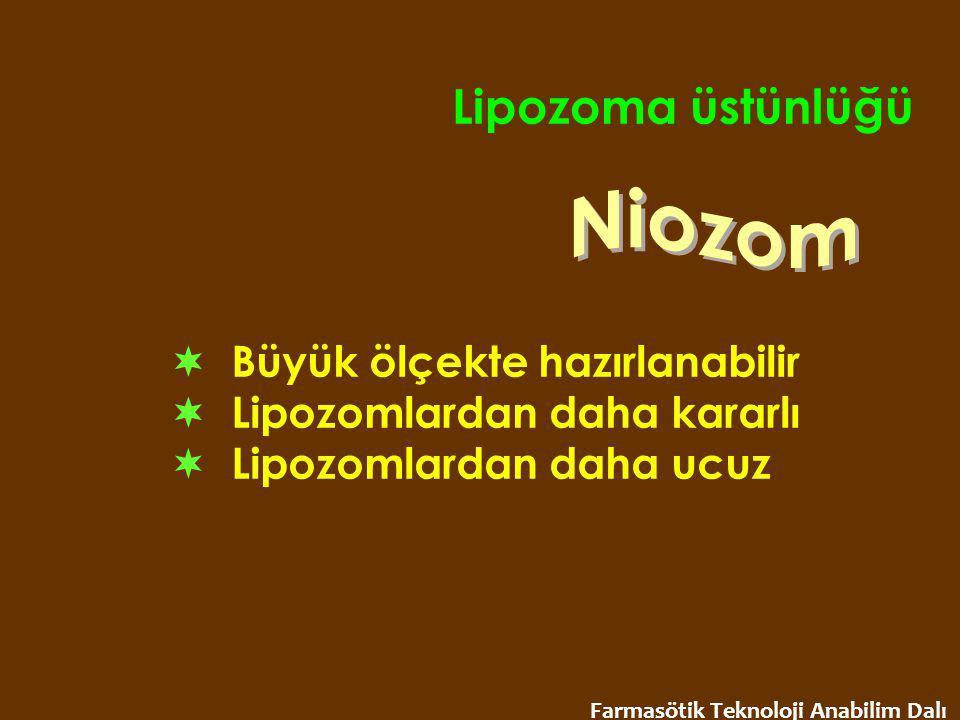 Lipozoma üstünlüğü  Büyük ölçekte hazırlanabilir  Lipozomlardan daha kararlı  Lipozomlardan daha ucuz Farmasötik Teknoloji Anabilim Dalı