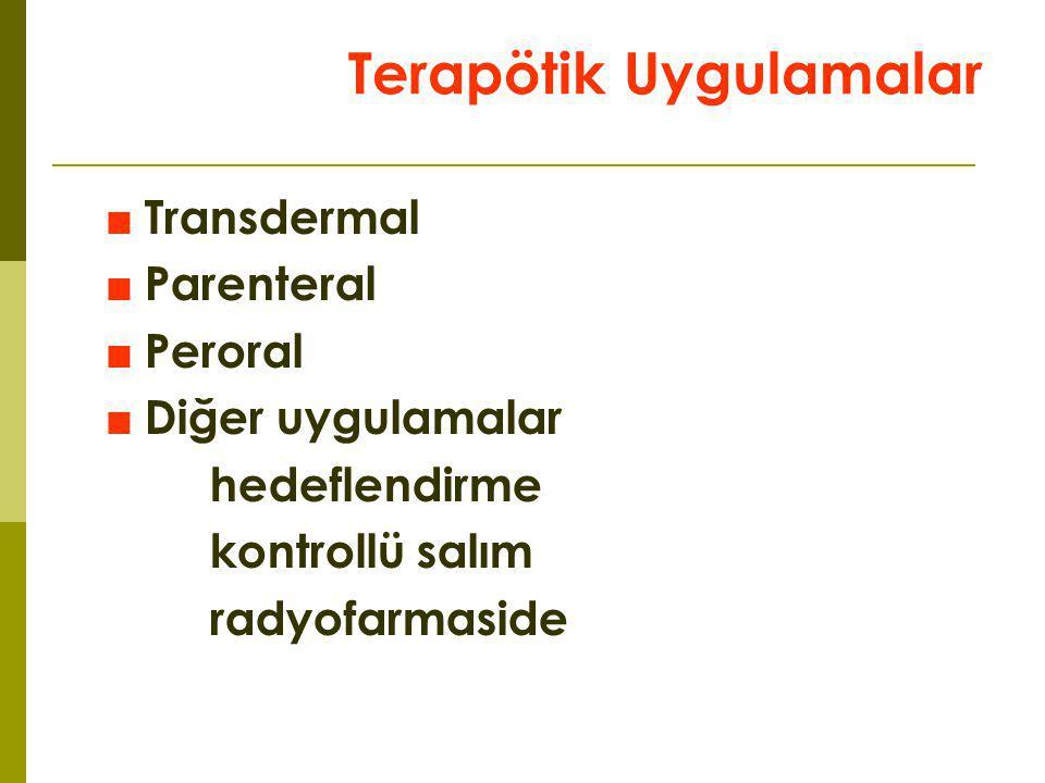 Terapötik Uygulamalar ■Transdermal ■Parenteral ■Peroral ■Diğer uygulamalar hedeflendirme kontrollü salım radyofarmaside