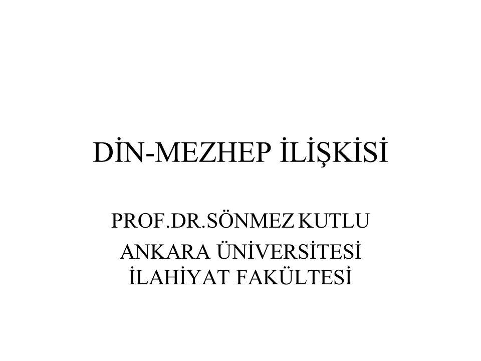 DİN-MEZHEP İLİŞKİSİ PROF.DR.SÖNMEZ KUTLU ANKARA ÜNİVERSİTESİ İLAHİYAT FAKÜLTESİ