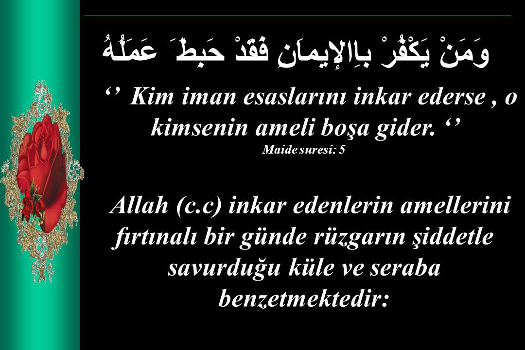 وَمَنْ يَكْفُرْ باِالإيماَنِ فَقَدْ حَبِطَ َ عَمَلُهُ '' Kim iman esaslarını inkar ederse, o kimsenin ameli boşa gider. '' Maide suresi: 5 Allah (c.c)