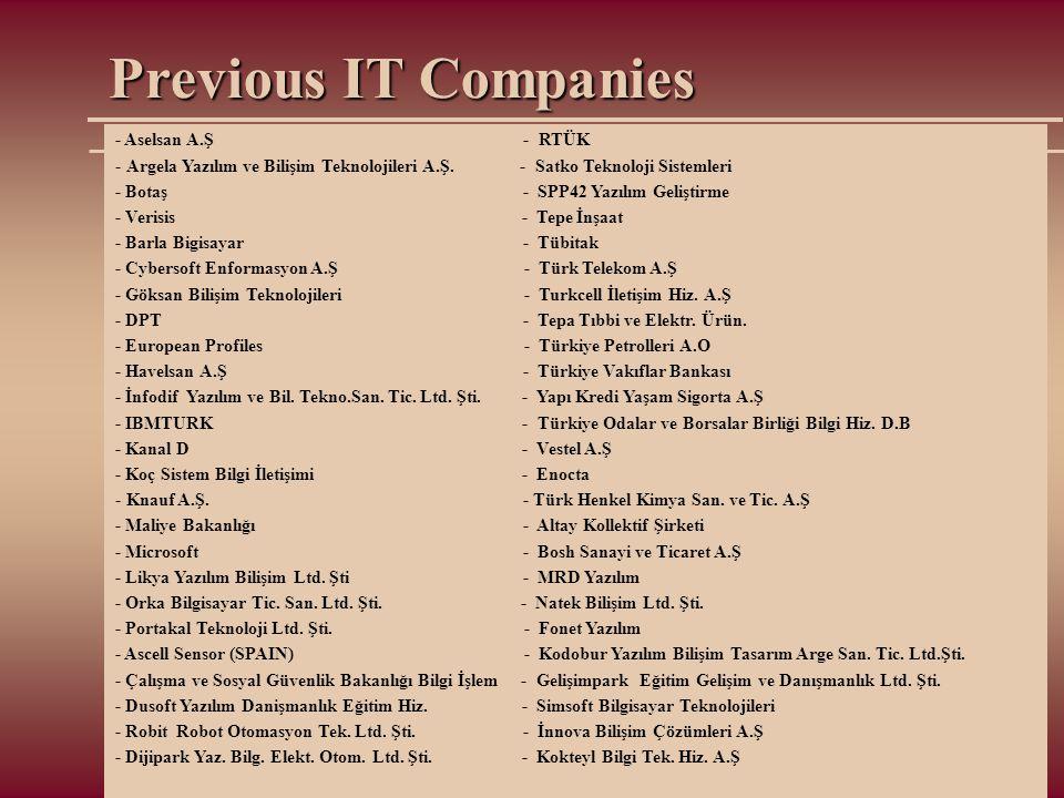 Previous IT Companies - Aselsan A.Ş - RTÜK - Argela Yazılım ve Bilişim Teknolojileri A.Ş. - Satko Teknoloji Sistemleri - Botaş - SPP42 Yazılım Gelişti