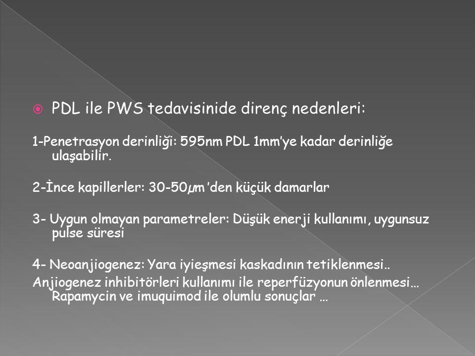  PDL ile PWS tedavisinide direnç nedenleri: 1-Penetrasyon derinliği: 595nm PDL 1mm'ye kadar derinliğe ulaşabilir. 2-İnce kapillerler: 30-50µm 'den kü