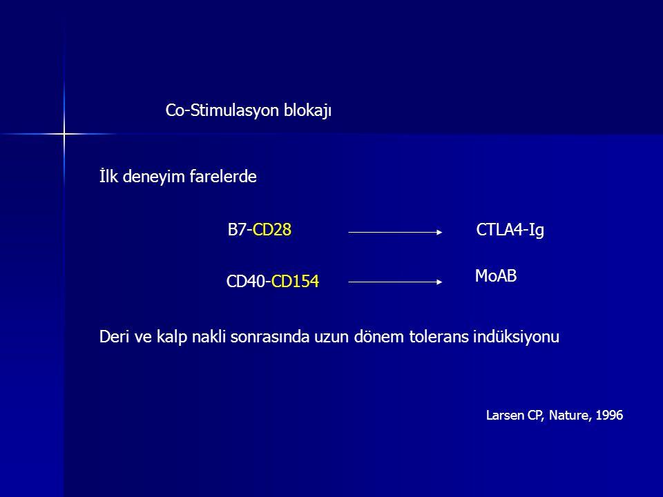 Co-Stimulasyon blokajı İlk deneyim farelerde CTLA4-IgB7-CD28 CD40-CD154 MoAB Deri ve kalp nakli sonrasında uzun dönem tolerans indüksiyonu Larsen CP,