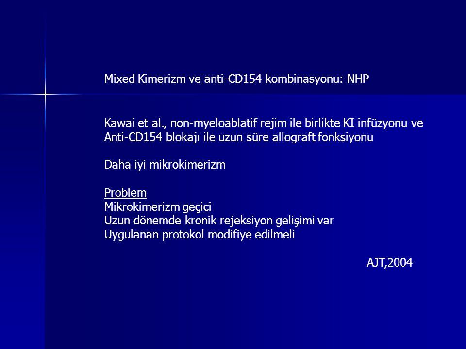 Mixed Kimerizm ve anti-CD154 kombinasyonu: NHP Kawai et al., non-myeloablatif rejim ile birlikte KI infüzyonu ve Anti-CD154 blokajı ile uzun süre allo