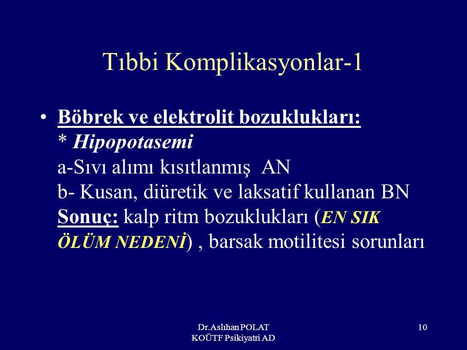 Dr.Aslıhan POLAT KOÜTF Psikiyatri AD 11 Tıbbi Komplikasyonlar-2 Kalp-damar sistemi: *Düşük kan basıncı, sinüs bradikardisi (metabolik yavaşlamaya uyum çabası) *Ventriküler aritmiler (ani ölüm nedeni) *Mitral valv prolapsusu (AN) *Kardiyomiyopati (hızlı refeeding ve ipeka kullanımında)