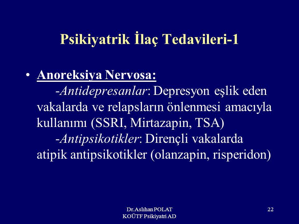 Dr.Aslıhan POLAT KOÜTF Psikiyatri AD 23 Psikiyatrik İlaç Tedavileri-2 Bulimiya Nervosa: –Antidepresanlar: Fluoksetin –Antikonvulsanlar (Topiramat)