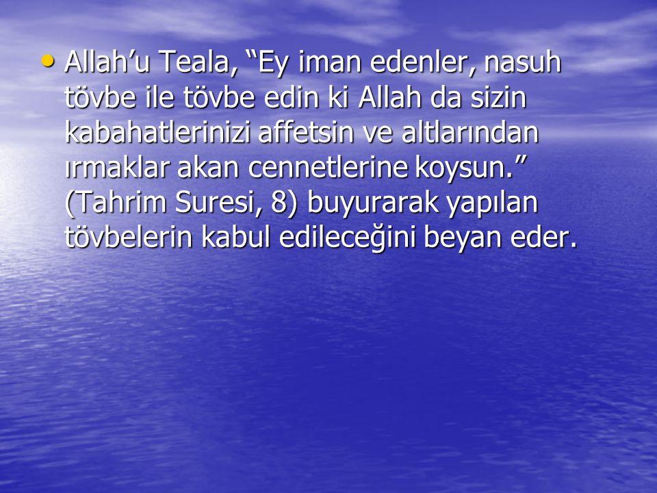 Ayette geçen nasuh tövbe ise şöyledir: 1-Allah'a karşı günah işlediğini bilerek, bu günahtan dolayı Allah'a sığınmak ve pişman olmak.