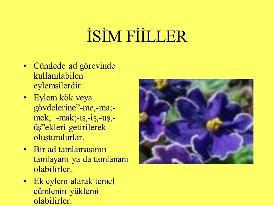 FİİLİMSİLER(EYLEMSİLER) İSİM FİİLLER SIFAT FİİLLER ZARF FİİLLER