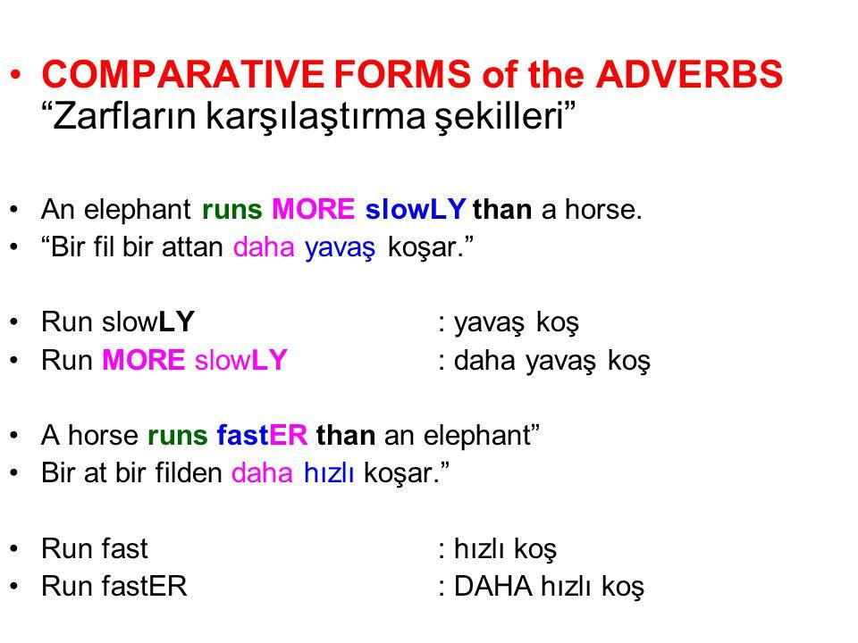 COMPARATIVE FORMS of the ADVERBS Zarfların karşılaştırma şekilleri An elephant runs MORE slowLY than a horse.