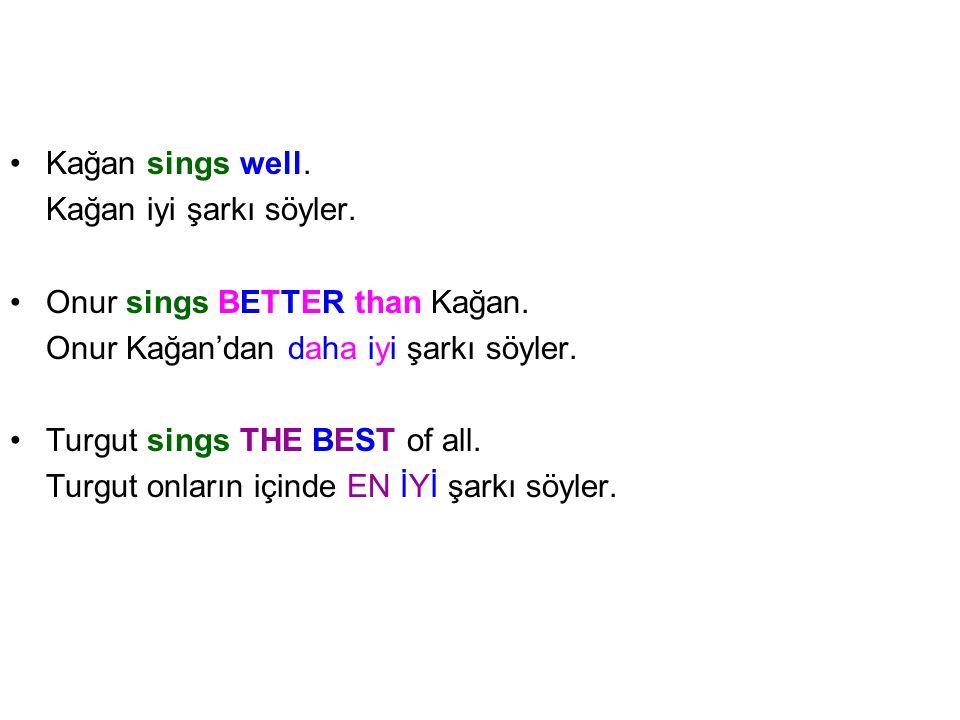 Kağan sings well.Kağan iyi şarkı söyler. Onur sings BETTER than Kağan.