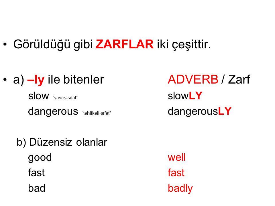 Görüldüğü gibi ZARFLAR iki çeşittir.