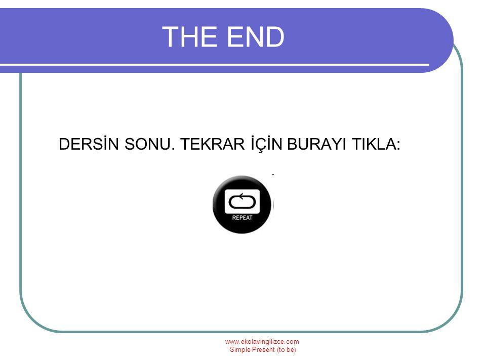 www.ekolayingilizce.com Simple Present (to be) THE END DERSİN SONU. TEKRAR İÇİN BURAYI TIKLA: