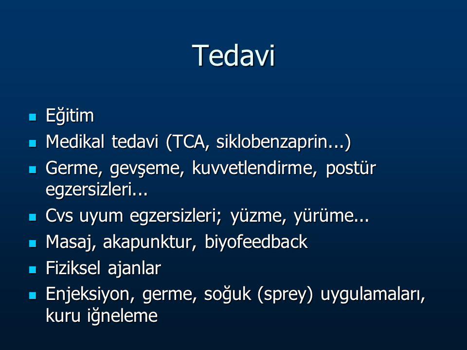Tedavi Eğitim Eğitim Medikal tedavi (TCA, siklobenzaprin...) Medikal tedavi (TCA, siklobenzaprin...) Germe, gevşeme, kuvvetlendirme, postür egzersizleri...