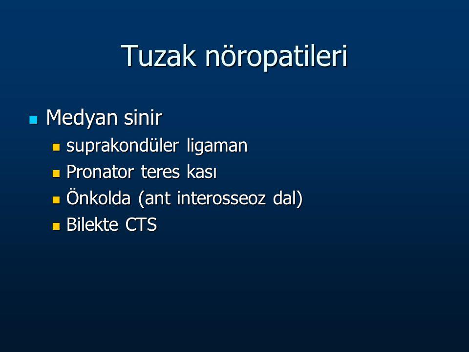 Tuzak nöropatileri Medyan sinir Medyan sinir suprakondüler ligaman suprakondüler ligaman Pronator teres kası Pronator teres kası Önkolda (ant interosseoz dal) Önkolda (ant interosseoz dal) Bilekte CTS Bilekte CTS