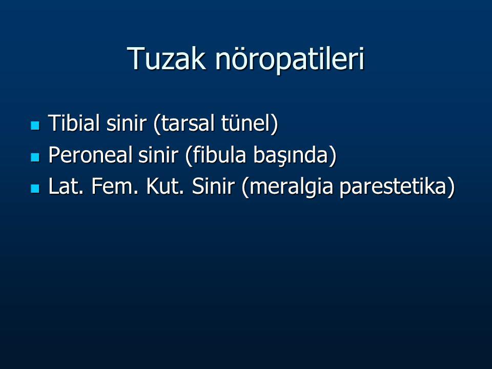 Tuzak nöropatileri Tibial sinir (tarsal tünel) Tibial sinir (tarsal tünel) Peroneal sinir (fibula başında) Peroneal sinir (fibula başında) Lat.