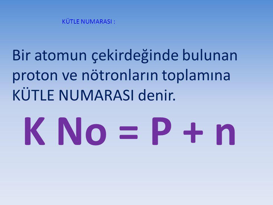 KÜTLE NUMARASI : Bir atomun çekirdeğinde bulunan proton ve nötronların toplamına KÜTLE NUMARASI denir. K No = P + n