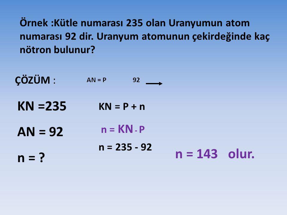 Örnek :Kütle numarası 235 olan Uranyumun atom numarası 92 dir. Uranyum atomunun çekirdeğinde kaç nötron bulunur? ÇÖZÜM : KN =235 AN = 92 n = ? AN = P