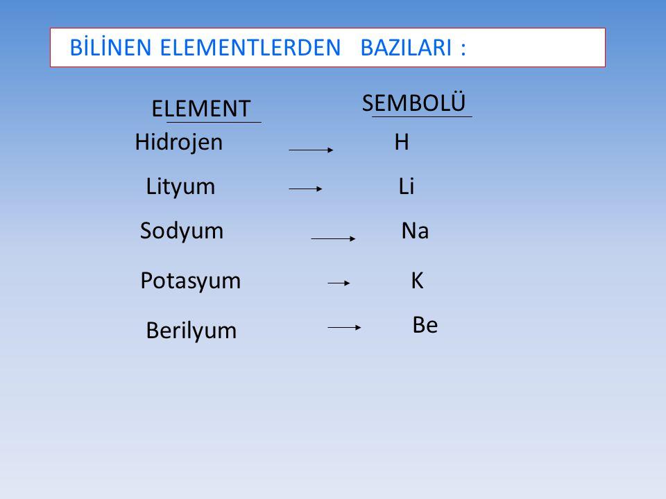 BİLİNEN ELEMENTLERDEN BAZILARI : ELEMENT SEMBOLÜ Hidrojen Lityum Sodyum Potasyum Berilyum H Li Na K Be
