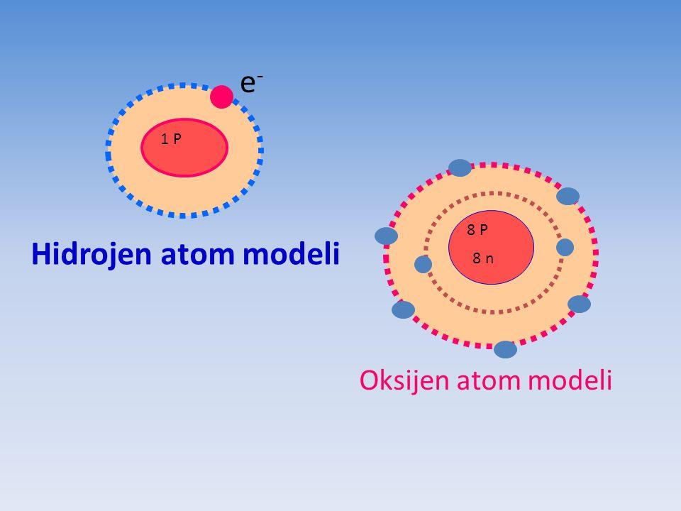 1 P e-e- Hidrojen atom modeli 8 P 8 n Oksijen atom modeli