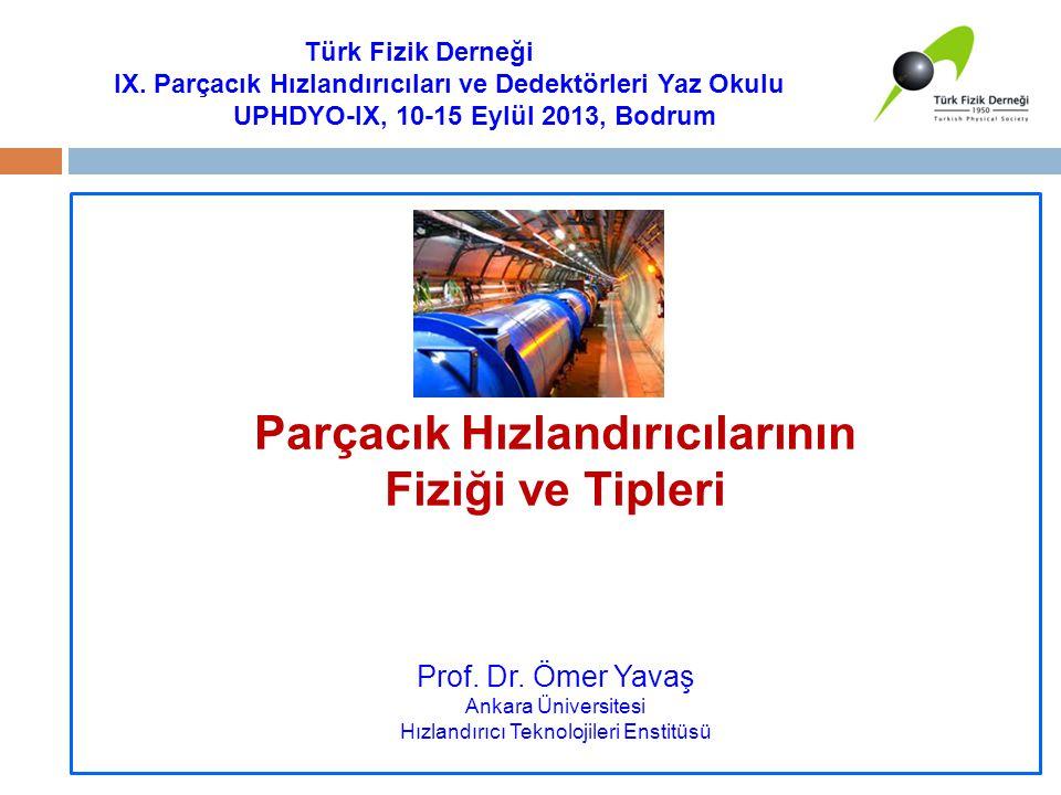 Parçacık Hızlandırıcılarının Fiziği ve Tipleri Prof. Dr. Ömer Yavaş Ankara Üniversitesi Hızlandırıcı Teknolojileri Enstitüsü Türk Fizik Derneği IX. Pa