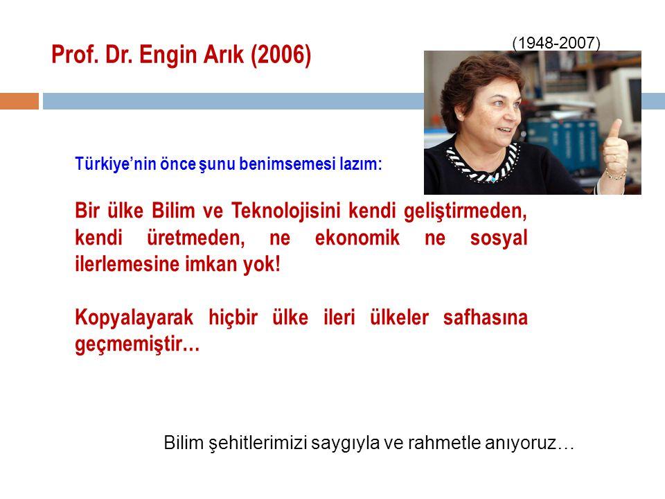 Prof. Dr. Engin Arık (2006) Türkiye'nin önce şunu benimsemesi lazım: Bir ülke Bilim ve Teknolojisini kendi geliştirmeden, kendi üretmeden, ne ekonomik
